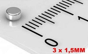 Imã De Neodímio Disco 3mm X 1,5mm *50 Peças*