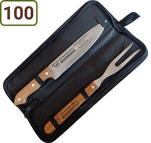 100 Kits Churrasco Personalizados - Garfo / Faca / Estojo