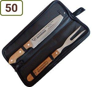 50 Kits Churrasco Personalizados - Garfo / Faca / Estojo