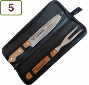 5 Kits Churrasco Personalizados - Garfo / Faca / Estojo