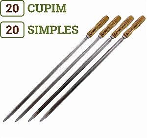 Pacote 40 Espetos (20 Simples / 20 Cupim) para Churrasco Cabos Personalizados