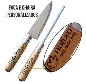 Kit Churrasco 2 pçs Faca e Chaira Personalizado