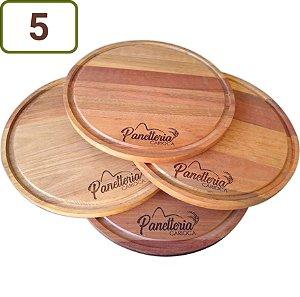 5 Tábuas Redondas Pizza / Queijo / Hambúrguer 23 cm Personalizadas