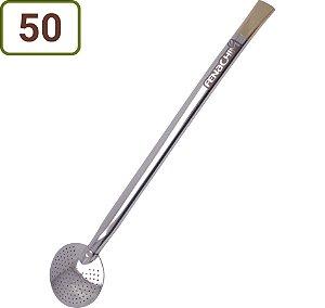 50 Bombas Chimarrão e Tereré 25 cm Aço Niquelado Personalizadas