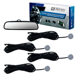 KIT RETROVISOR C/ CAMERA E SENSOR PRATA