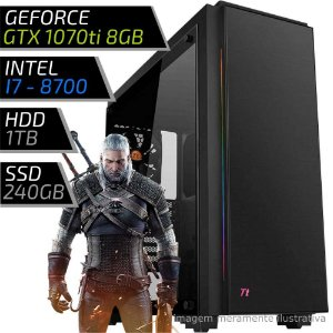 COMPUTADOR PC GAMER EXTREME - INTEL CORE I7 8700 / 16GB DDR4 / GTX 1070TI 8GB / HD 1000GB / SSD 240GB / C23