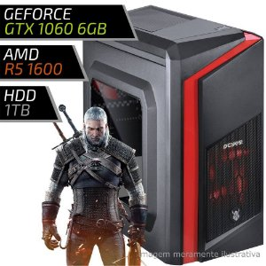 COMPUTADOR PC GAMER ADVANCED AMD - RYZEN 5 1600 / 8GB DDR4 / GTX 1060 6GB / HD 1TB / DWARF