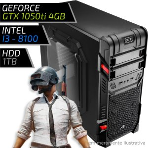 COMPUTADOR PC GAMER ADVANCED - INTEL CORE I3 8100 / 8GB DDR4 / GTX 1050TI 4GB / HD 1000GB / GT BLACK