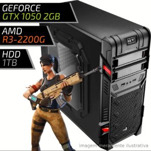COMPUTADOR PC GAMER FIRST AMD – RYZEN 3 2200G / 8GB DDR4 / GTX 1050 2GB / HD 1TB / GT BLACK