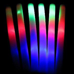 10 Bastões LED Luminoso LISO Espuma - 3 funções - kit 10 bastões lisos