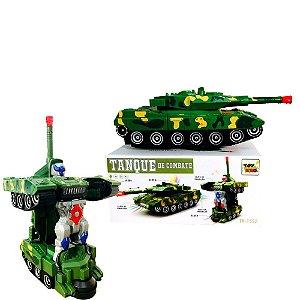 Robô Tanque De Combate Guerra Vira Robô Com Som E Luz