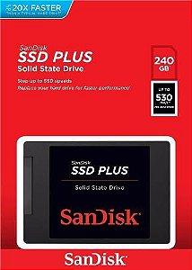 Hd Ssd Sandisk Plus® 240gb 530mb/s Sata 3 (20x Mais Rápido)