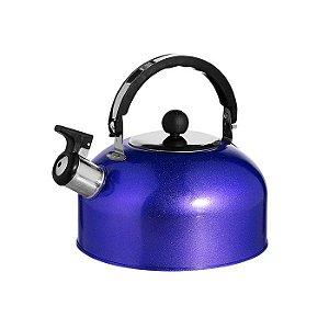 Chaleira Inox C/ Apito Azul Esmaltada 1,8 Lts