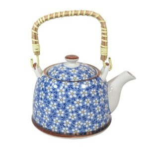 Bule Para Chá Em Porcelana Com Infusor Multiart Azul