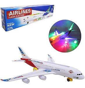 AVIAO BATE E VOLTA AIRLINES AIRBUS A380 COM SOM E LUZ A PILHA NA CAIXA
