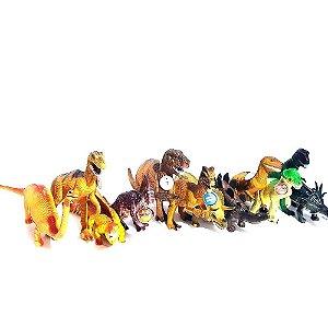 Kit Com 12 Dinossauro Borracha Tamanho Grande