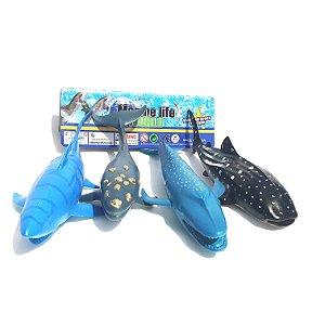 Kit Brinquedo De Borracha Oceano Baleia ,tubarão E Outros