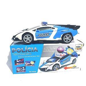 Brinquedo Carrinho De Policia Com Globo De Luz Som Gira 360