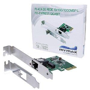 Placa de Rede 10/100/1000Mbps PCI Express Gigabit - MYMAX