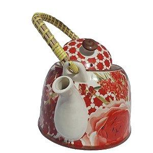 Bule De Cha Com Infusor De Metal Porcelana Chinesa 600ml
