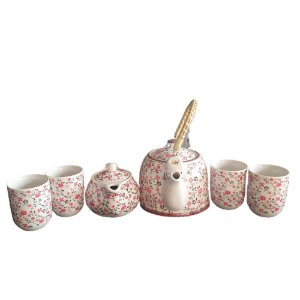 Kit Bule Chaleira Porcelana Chinesa+ Mini Bule+ 4 Copos