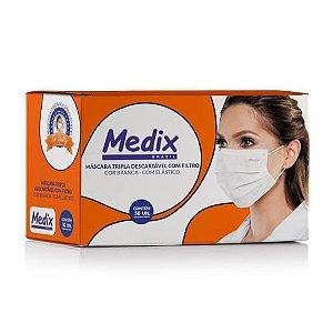 Máscara cirúrgica tripla camada com filtro branca - (50 unid.) - Medix