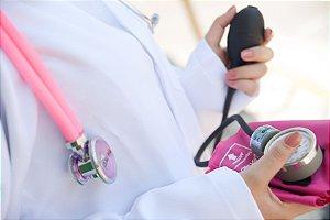 Conjunto aparelho pressão arterial adulto nylon/fecho de contato e esteto Rappaport - P.A. MED