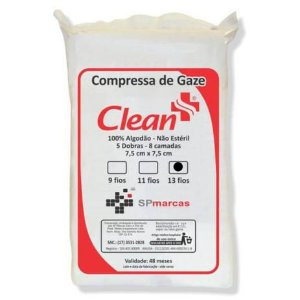 Compressa de gaze estéril 13 fios 500 uni - Clean
