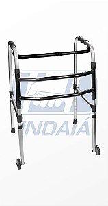 Andador fixo e dobrável com rodas 3 barras - Indaiá