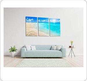 Quadros Decorativos Canvas Praia  3 peças