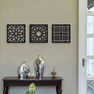 Painéis Decorativos Três Quadrados em Mdf Cru esp012