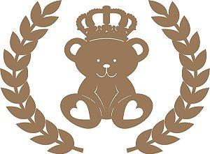Aplique de Parede Urso Príncipe com Ramos em  Mdf Cru esp014
