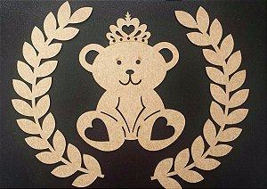 Aplique de Parede Ursa Princesa em Mdf Cru esp015