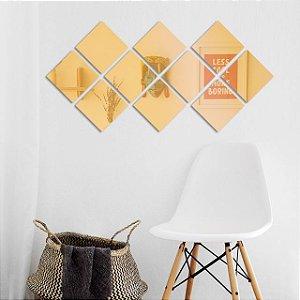 Espelho Decorativo Losangos em Acrílico Espelhado Dourado