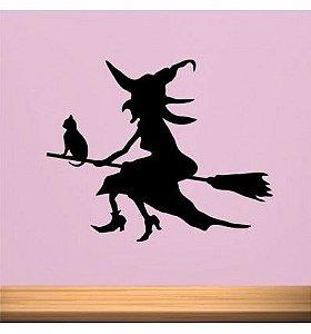 Adesivo de Parede Bruxa e Gato Halloween