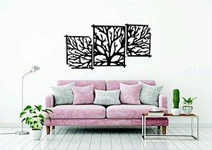 Quadros Decorativos 3 Peças  Árvore em PS Branco 150 x 79 CM