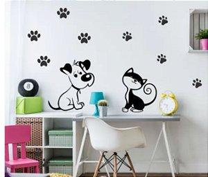 Adesivo de Parede Pet Gato e Cachorro