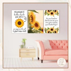 Kit 3 Quadros Decorativos Girassol