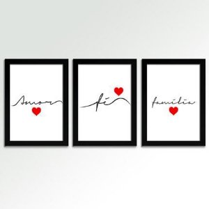 Kit 3 Quadros Decorativos Frases
