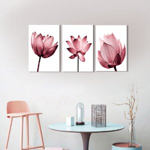 Kit 3 Quadros Decorativos Flores