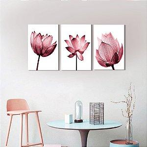 Kit 3 Quadros Decorativos Flores