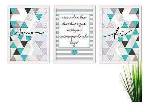 Kit 3 Quadros Decorativos Amor Azul