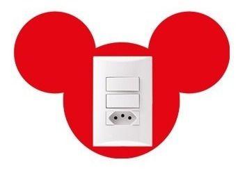 Adesivo de Interruptor Cabeça Mickey Vermelha
