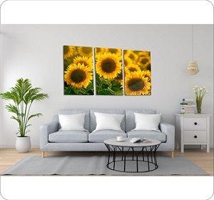 Quadros Decorativos Canvas Girassol 3 Peças