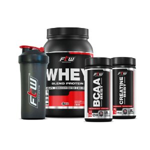 Combo Econômico WPB FTW Fitoway - (Whey Morango 900gr + BCAA Best 120caps + Creatina Best 100gr + Coqueteleira)