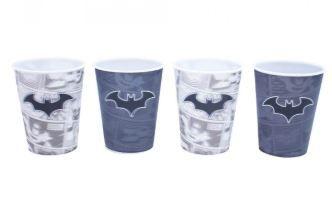Jogo Com 4 Copos Batman 3D 400ml - Liga Da Justiça
