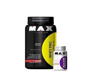 Whey Pró Max Titanium 1kg + Bcaa 2400mg 100 Cápsulas