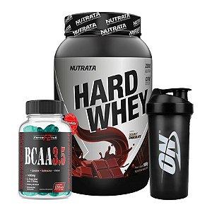 Hard Whey 900g + Bcaa 3,5 120 cápsulas (GRATIS coqueteleira Optimum Nutrition)