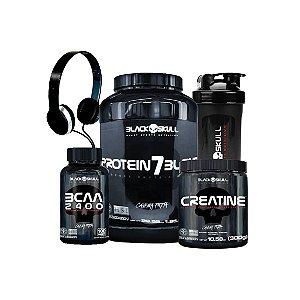 Kit Whey Protein 7 + BCAA 2400 + Creatina 300G + Coqueteleira + Fone - Black Skull- MORANGO