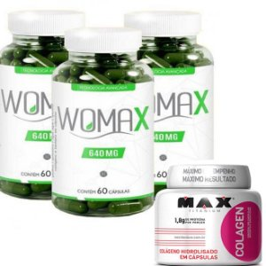 Womax 60 cps kit com 3 potes + Colageno Max titanium 100 Cps - Kit Emagrecedor